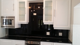 Painted Glass Splashback - Black
