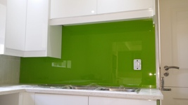 Painted Glass Splashback - Lime Green